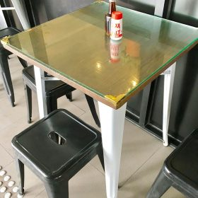 Glass added to a Tolix Table by a VIC Cafe