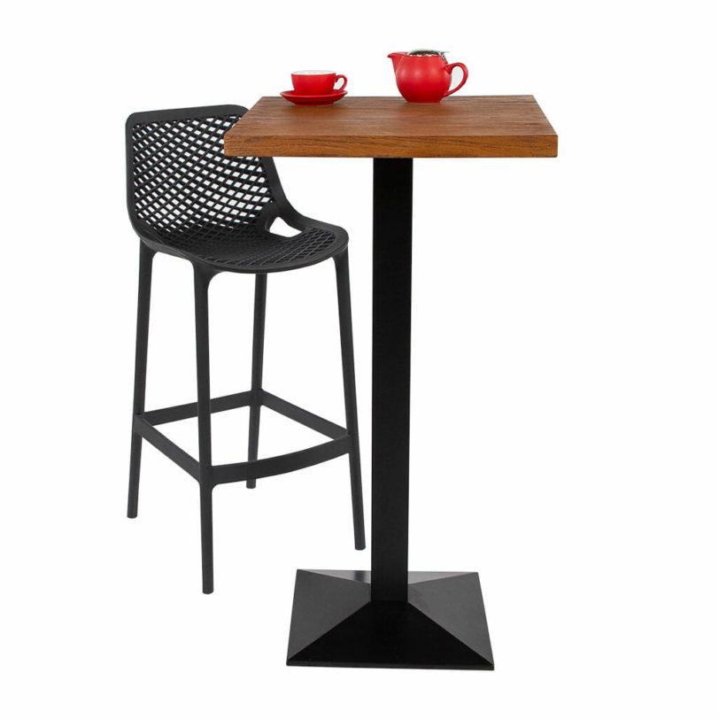 70cm square oak effect cement table